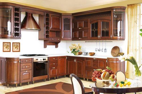 Кухня из массива ольхи «Бирмингем» в Классическом стиле