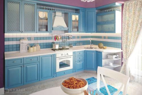 Кухня из массива ясеня «Лазурный берег» в стиле Прованс