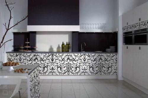 Кухня из акрила с фотопечатью «Дерби» в современном стиле